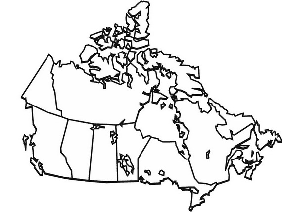 Canada Map Without Labels Sketch Coloring Page