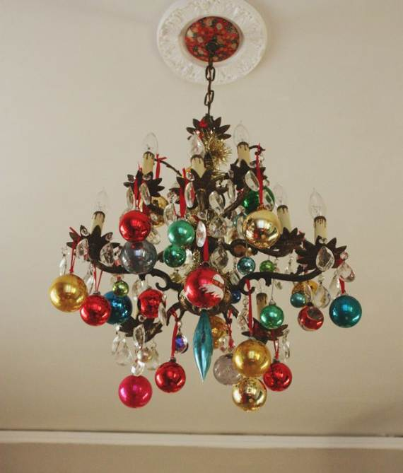 45 christmas decorating ideas for pendant lights and for Christmas chandelier decorations ideas